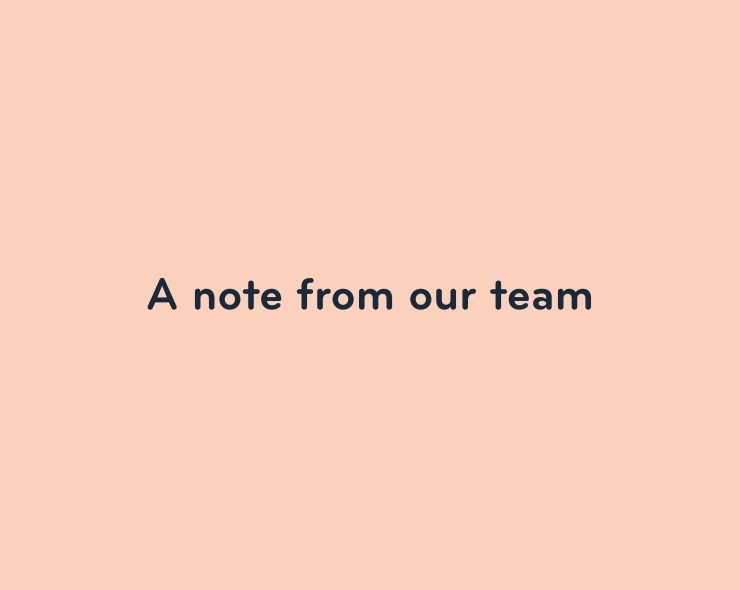 A note from our team image