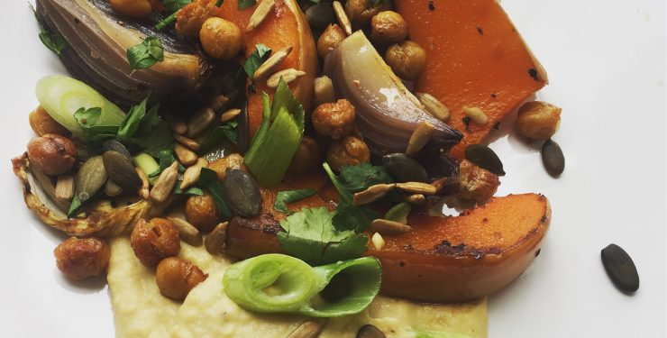 Home Made Hummus with Roasted Veggies and Crispy Chickpeas image