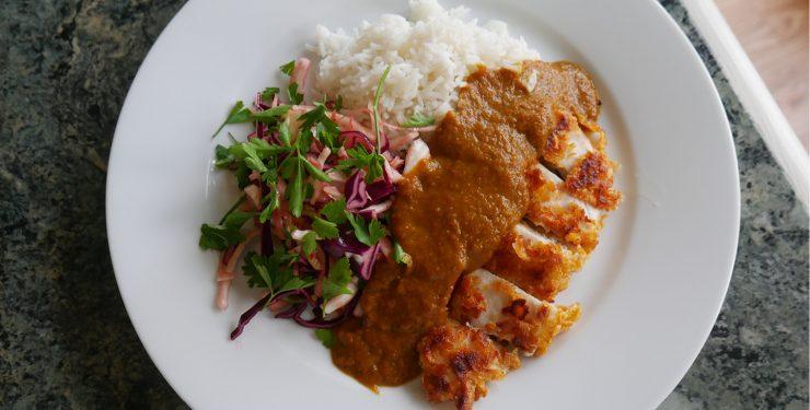 Home Made Cornflake Chicken Katsu with Cauli 'rice' image